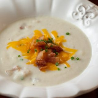 Creamy Cauliflower Soup with Bacon, Cheddar, and Chives