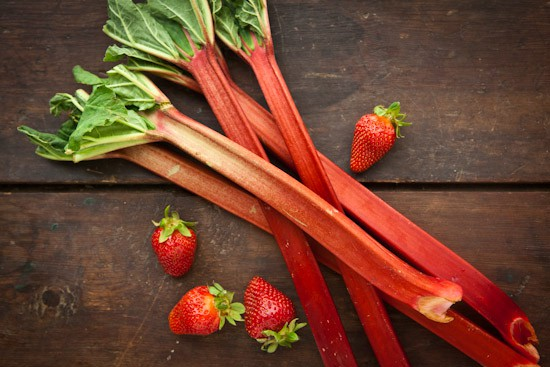 Fresh Rhubarb and Strawberries