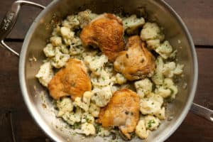 Roasted Chicken Thighs and Cauliflower with Capers