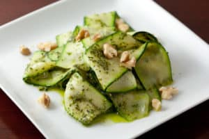 Zucchini Ribbons with Basil Mint Pesto and Walnuts