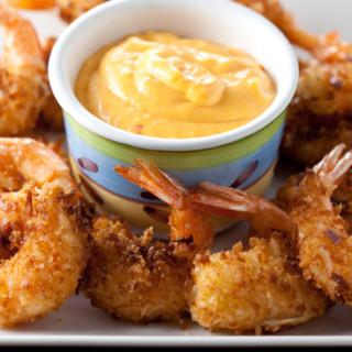 Coconut Shrimp Poppers with Chili Mango Cream