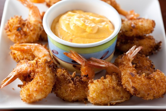 Coconut Shrimp Poppers with Chili Mango Cream