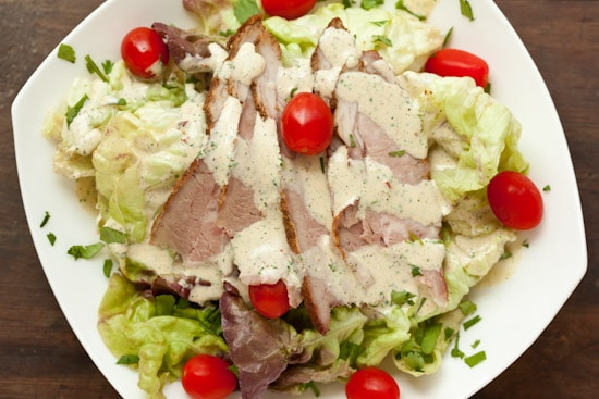 Green Salad with Tri-Tip and Chipotle Ranch Dressing