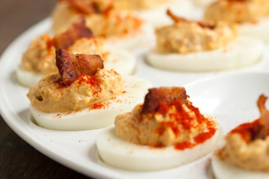 Chipotle Bacon Deviled Eggs with Smoked Paprika
