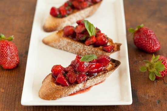 Strawberry Bruschetta with Balsamic Vinegar and Basil
