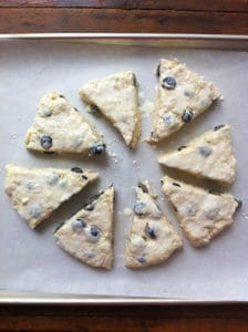 Buttermilk Blueberry Scones brushed with cream