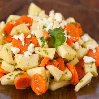 Apple Carrot Salad with Cilantro and Feta Cheese