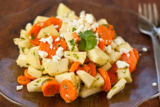 Carrot Apple Salad with Cilantro and Feta