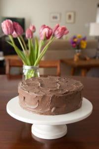 Yellow Cake with dark chocolate buttercream frosting