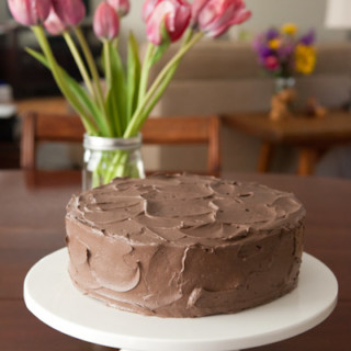 Yellow Cake with Dark Chocolate Buttercream Frosting