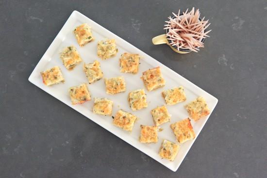 Artichoke squares on platter
