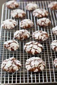 Chocolate Crackle Cookies cooling rack