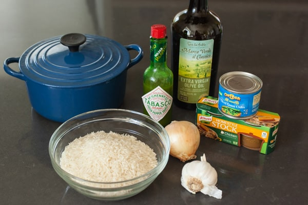 Ingredients for Green Chile Rice | pinchmysalt.com