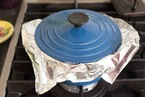 Covering rice with foil | pinchmysalt.com