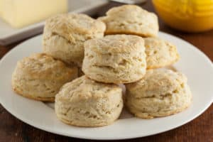 Sourdough biscuits on plate