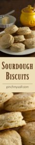 Quick and Buttery Sourdough Biscuits are a great way to use up some sourdough discard when feeding your sourdough starter. pinchmysalt.com