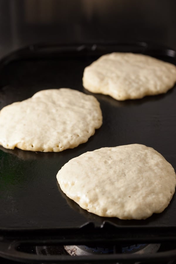 Sourdough pancakes on the griddle | pinchmysalt.com
