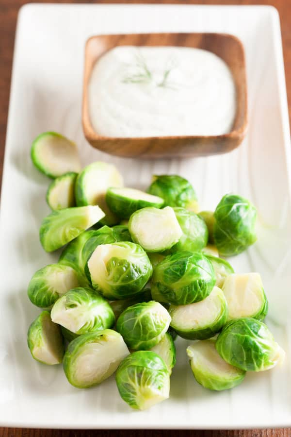 Steamed Brussels Sprouts with Dill Dip | pinchmysalt.com