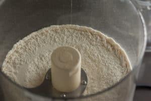 Flour, Salt, and Sugar in Cuisinart for Sourdough Pie Crust   pinchmysalt.com