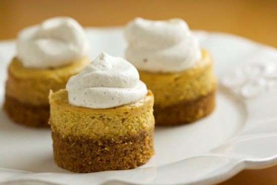Mini Pumpkin Cheesecakes with Cinnamon Whipped Cream | pinchmysalt.com