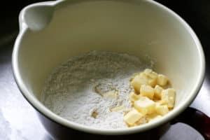 Buttermilk Biscuits Prep - butter and flour | pinchmysalt.com