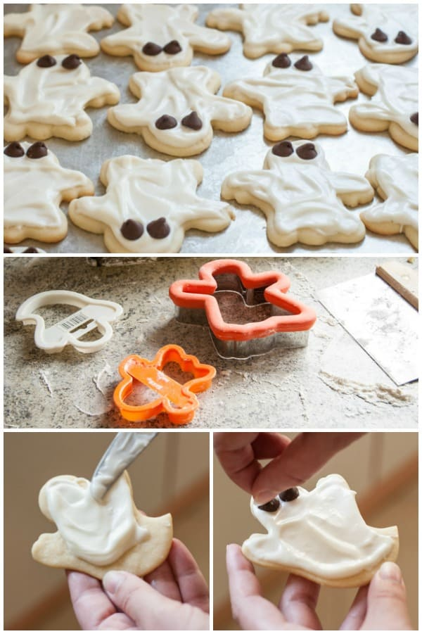 How to make Halloween Cookie Cutter Ghost Sugar Cookies with Cream Cheese Frosting | pinchmysalt.com