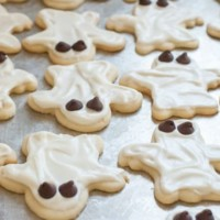 Halloween Ghost Sugar Cookies with Cream Cheese Frosting