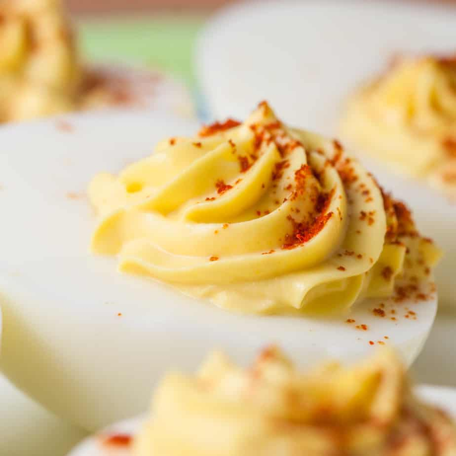 Classic Deviled Eggs sprinkled with smoked paprika