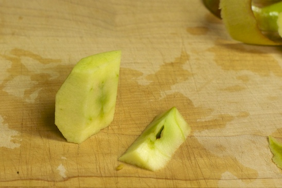 You now have an apple quarter that can be easily sliced into pieces.