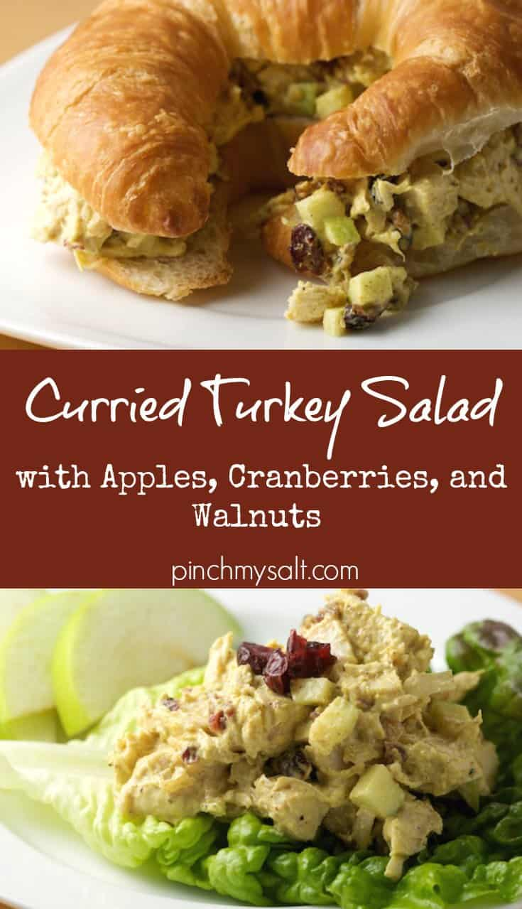 Curried Turkey Salad with Apples, Cranberries, and Walnuts | pinchmysalt.com