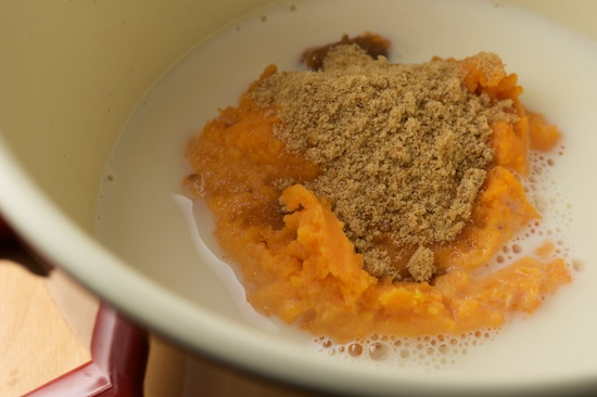 In a separate bowl, combine sweet potato, milk, and brown sugar.