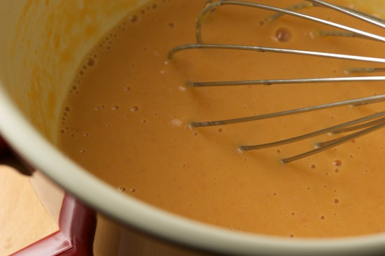 Whisk together the sweet potato, milk, and brown sugar.