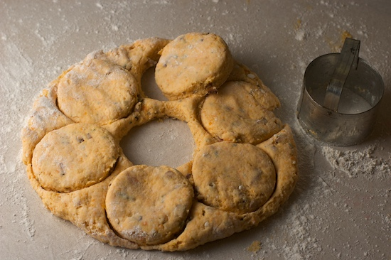 Cut biscuits with biscuit cutter. Mine is 2 1/2 inches wide.