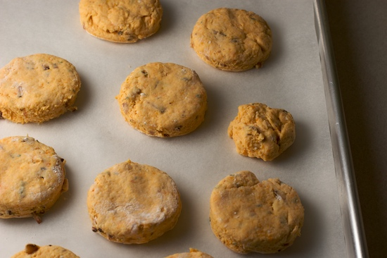Place biscuits on parchment-lined baking sheet. You can see my tiny scrappy biscuit on the right!
