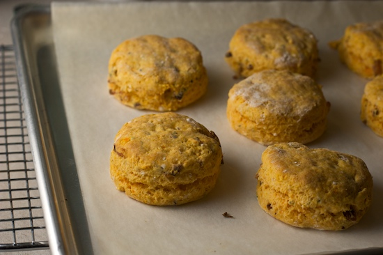 Remove the biscuits from oven when they are just barely starting to brown on top.