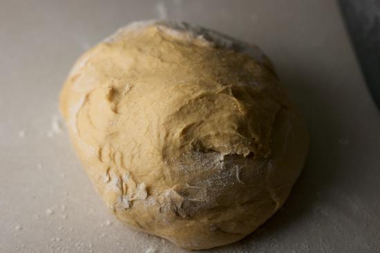 Dump the dough out onto a lightly floured countertop.