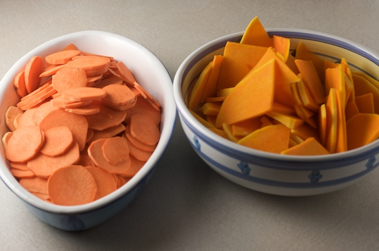 Squash and sweet potatoes should be thinly sliced, no more than 1/8 inch thick.