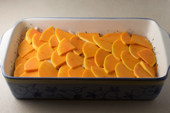 Use the rest of your butternut squash slices to form another layer. This should be your third layer of vegetables.