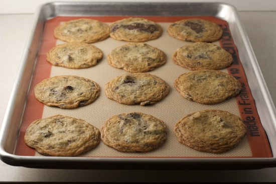 I like to bake them until the edges just start to brown. In my oven, 11 minutes was perfect. I suggest checking them early if your oven tends to be hot. I leave them on the baking sheet for 5-10 minutes to allow the cookies to set before removing to a wire rack.