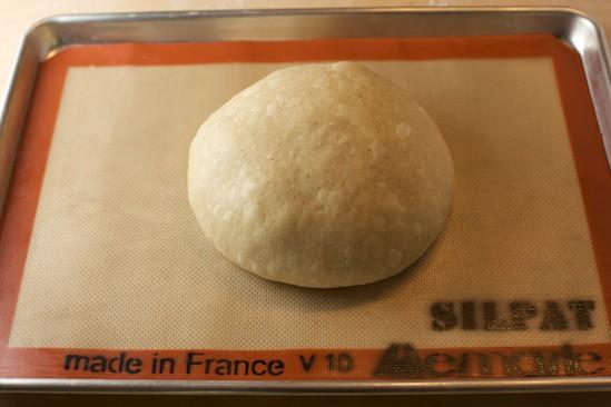 Dough shaped into a boule