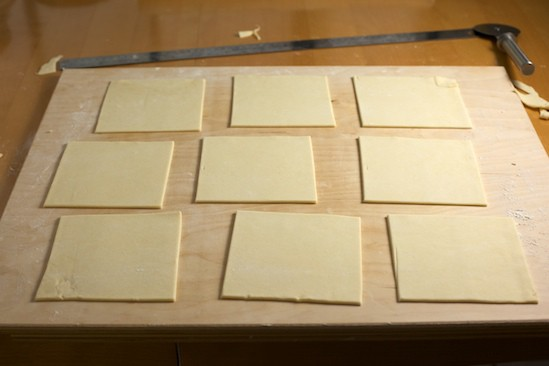 Pastry Squares for Rhubarb Blueberry Turnovers