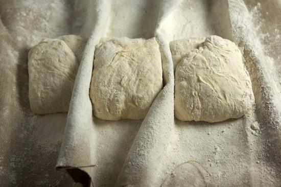 Ciabatta Dough Nestled in Couche