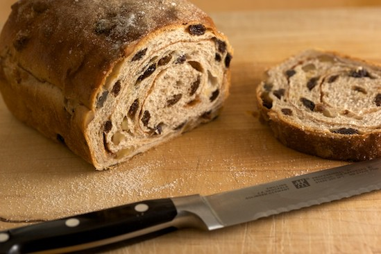 Sliced Cinnamon Raisin Walnut Bread