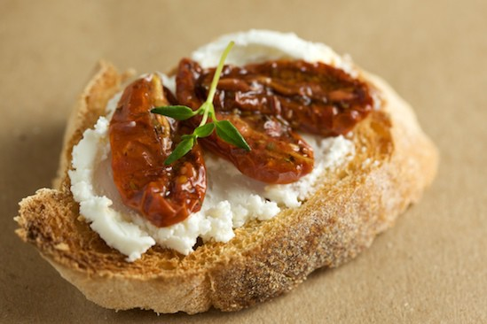 Bruschetta with Chevre and Slow Roasted Tomatoes