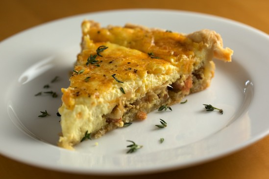 Slice of Bacon and Onion Quiche