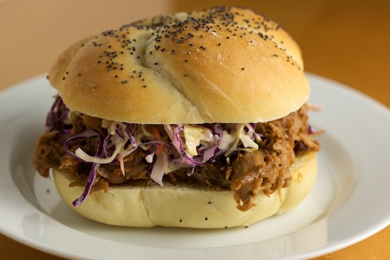 Pulled Pork Sandwich on Homemade Kaiser Roll