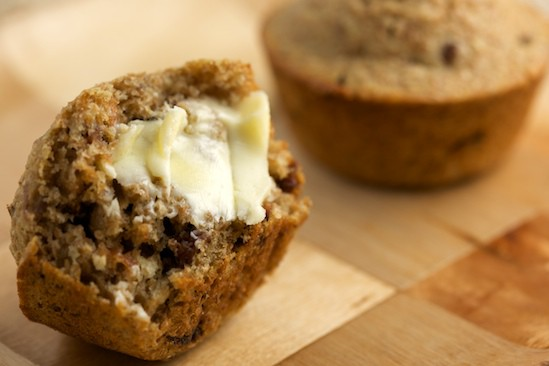 Cherry Pecan Bran Muffin with Butter