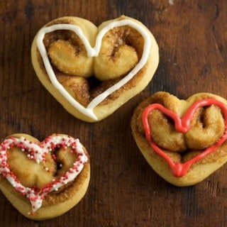 Heart-Shaped Cinnamon Rolls with Cream Cheese Icing
