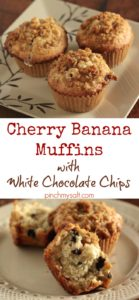 Cherry Banana Muffins with White Chocolate Chips | pinchmysalt.com