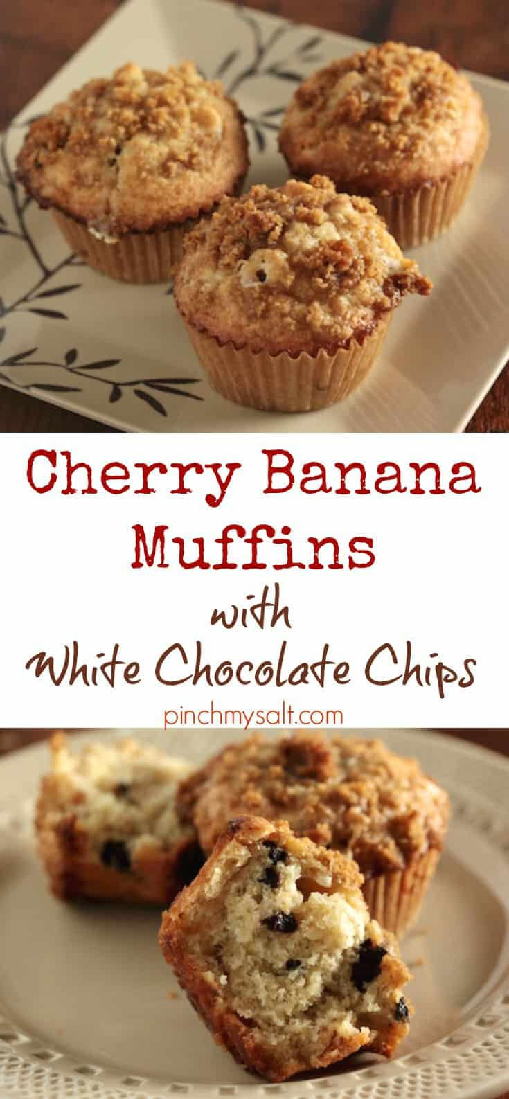 Cherry Banana Muffins with White Chocolate Chips | pinchmysalt.com